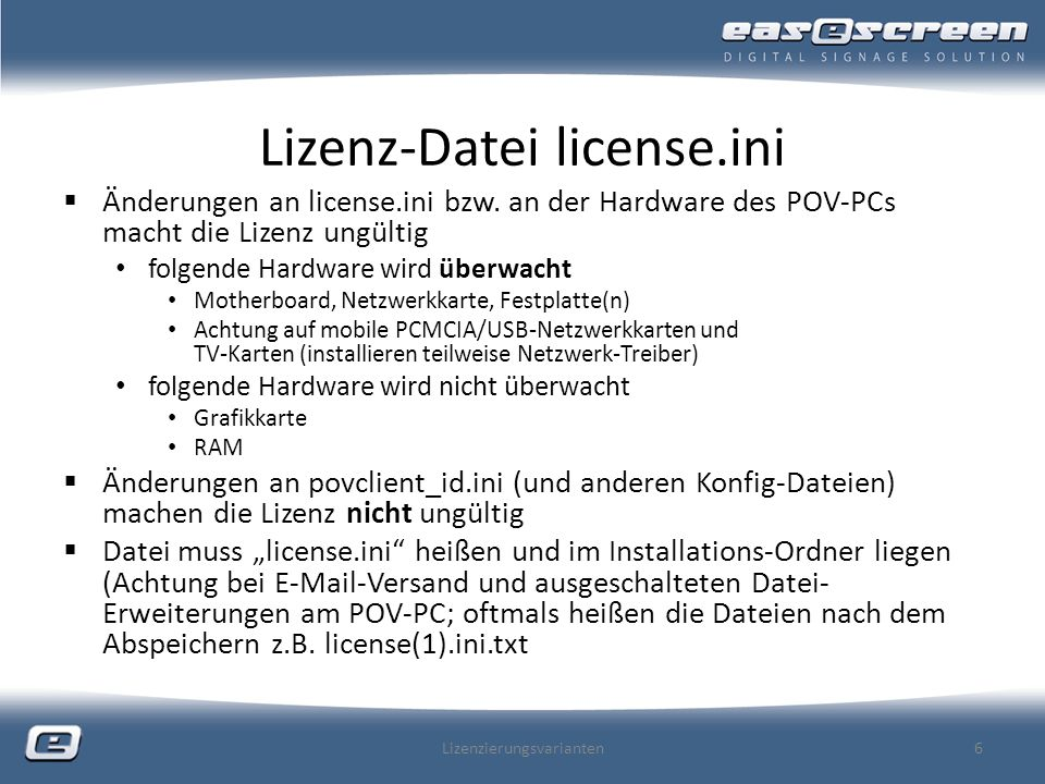 Lizenz-Datei license.ini