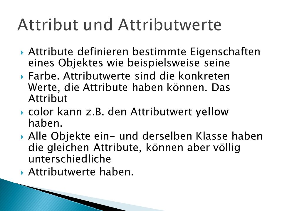 Attribut und Attributwerte