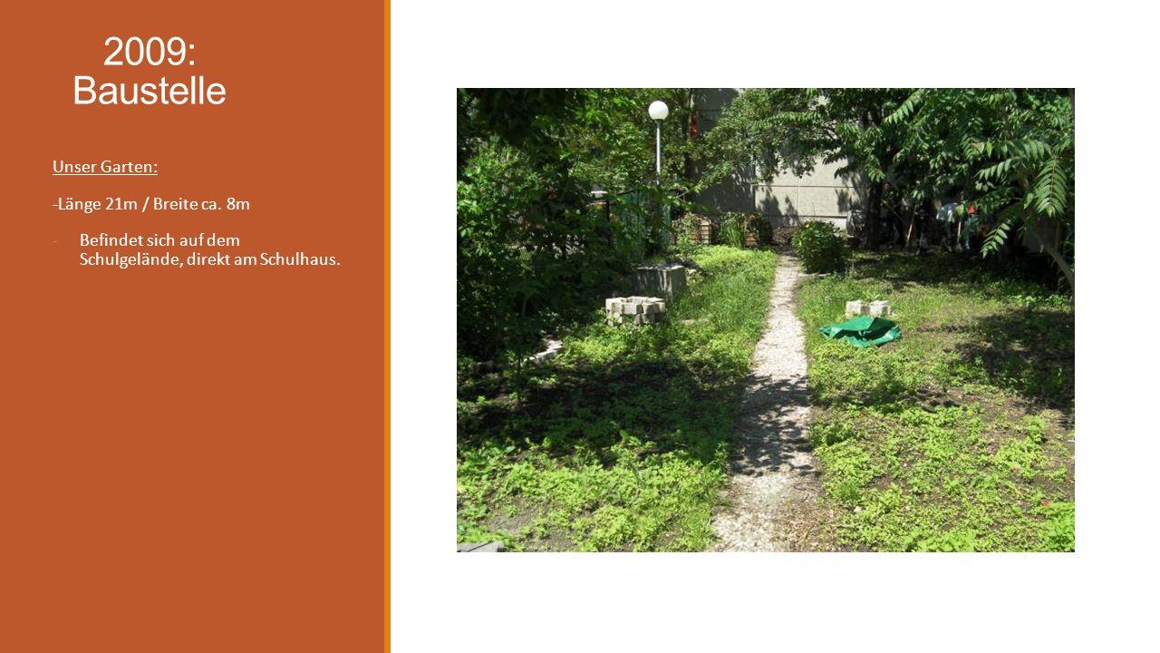 2009: Baustelle Unser Garten: -Länge 21m / Breite ca. 8m
