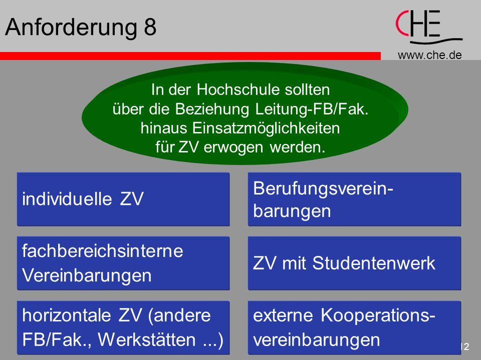 Anforderung 8 individuelle ZV Berufungsverein- barungen