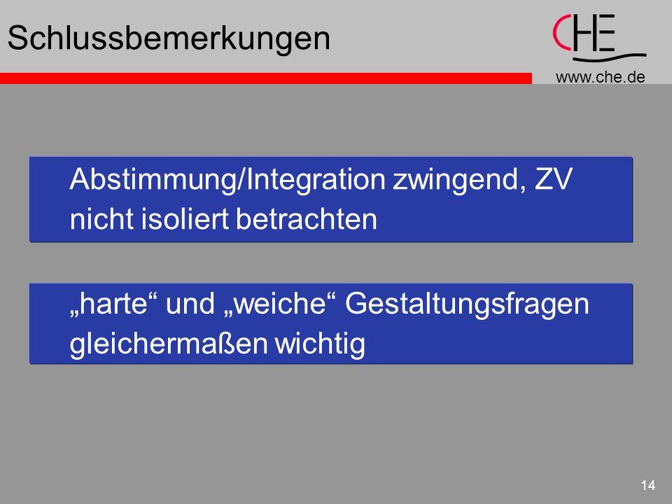 Schlussbemerkungen Abstimmung/Integration zwingend, ZV