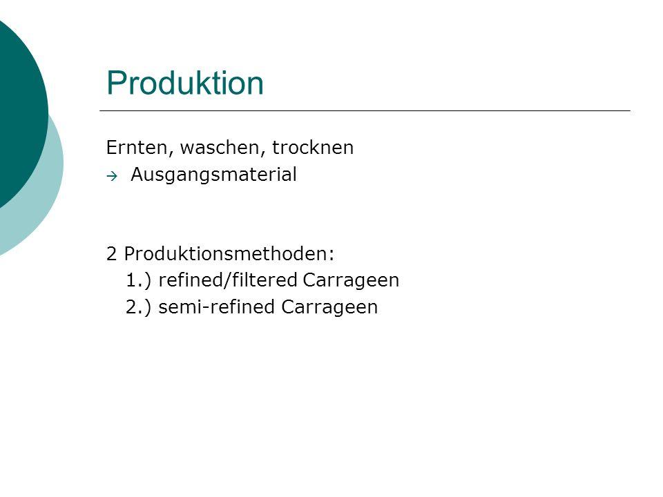 Produktion Ernten, waschen, trocknen Ausgangsmaterial