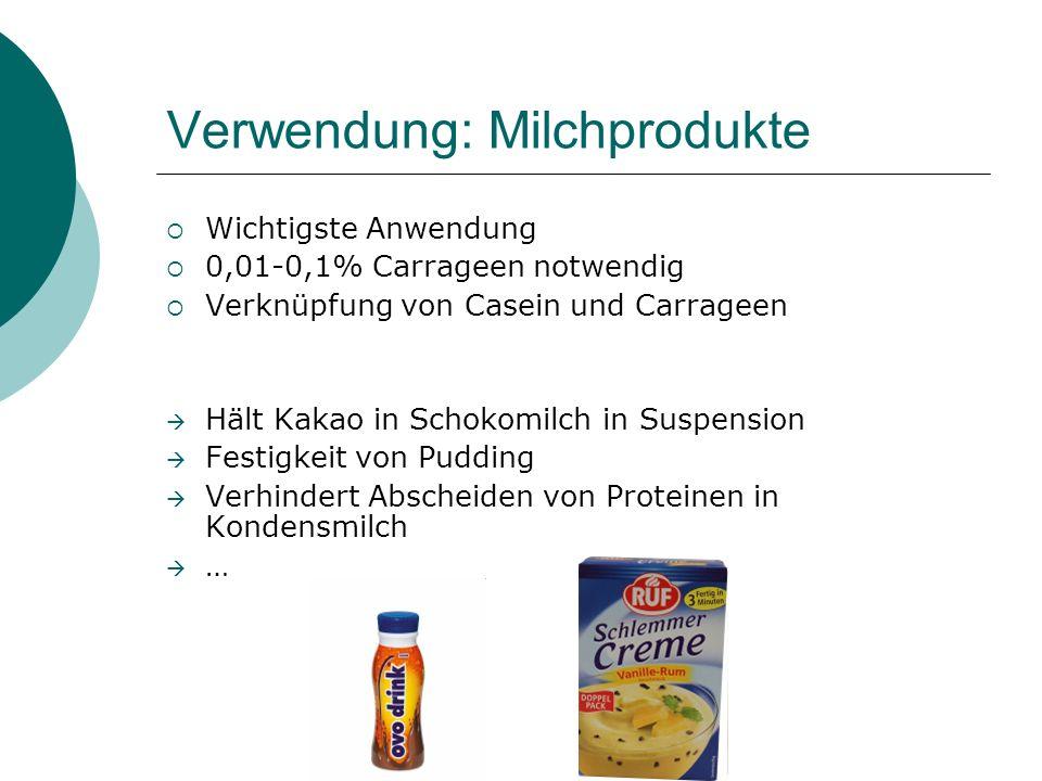Verwendung: Milchprodukte