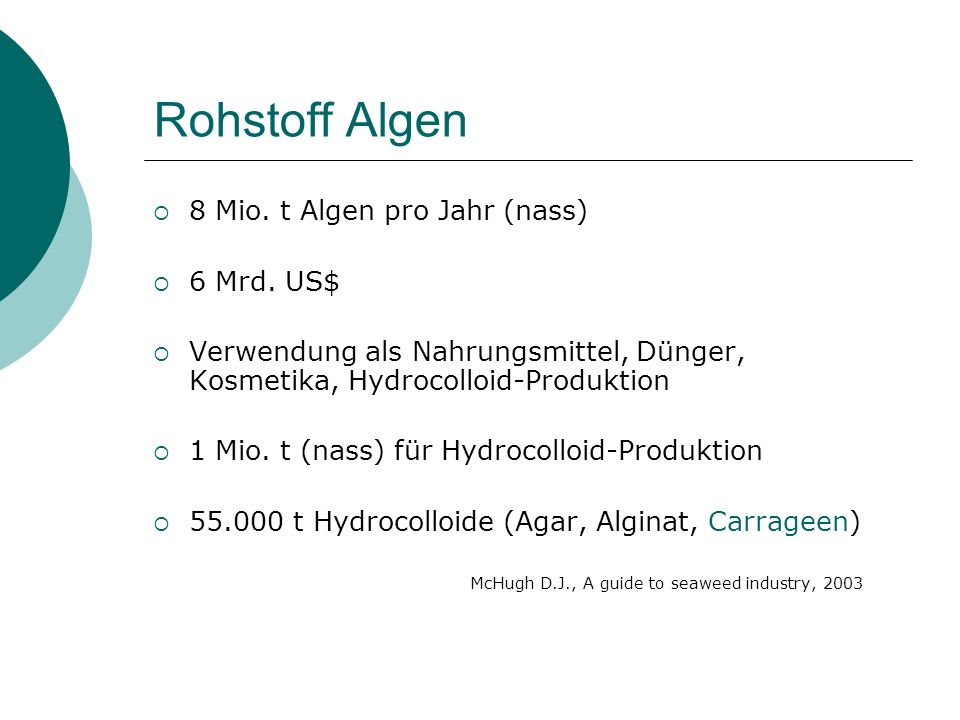 Rohstoff Algen 8 Mio. t Algen pro Jahr (nass) 6 Mrd. US$