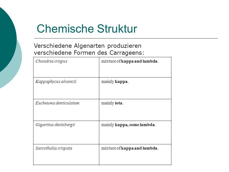 Chemische Struktur Verschiedene Algenarten produzieren verschiedene Formen des Carrageens: Chondrus crispus.