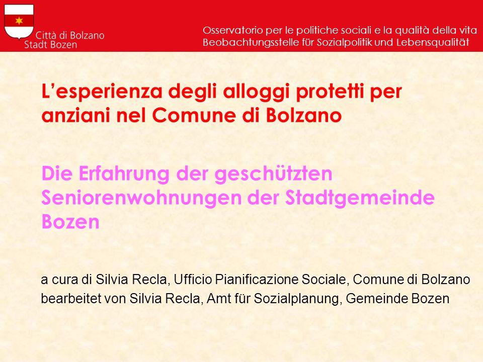 L'esperienza degli alloggi protetti per anziani nel Comune di Bolzano