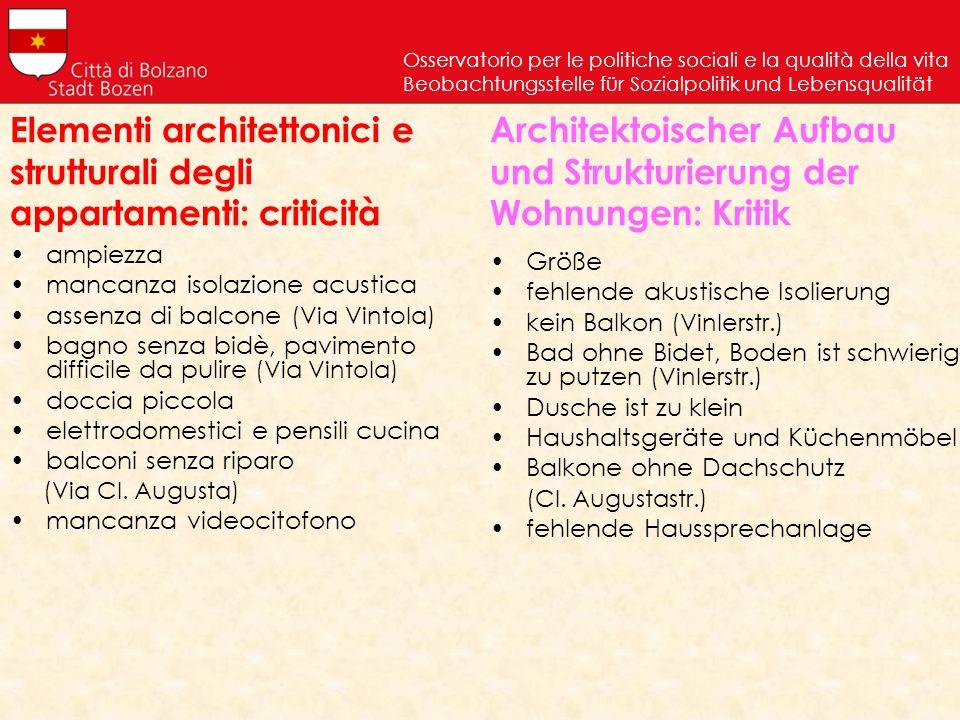Elementi architettonici e strutturali degli appartamenti: criticità