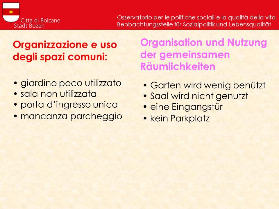Organizzazione e uso degli spazi comuni: