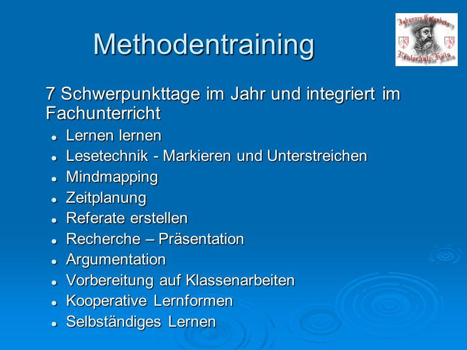 Methodentraining 7 Schwerpunkttage im Jahr und integriert im Fachunterricht. Lernen lernen. Lesetechnik - Markieren und Unterstreichen.