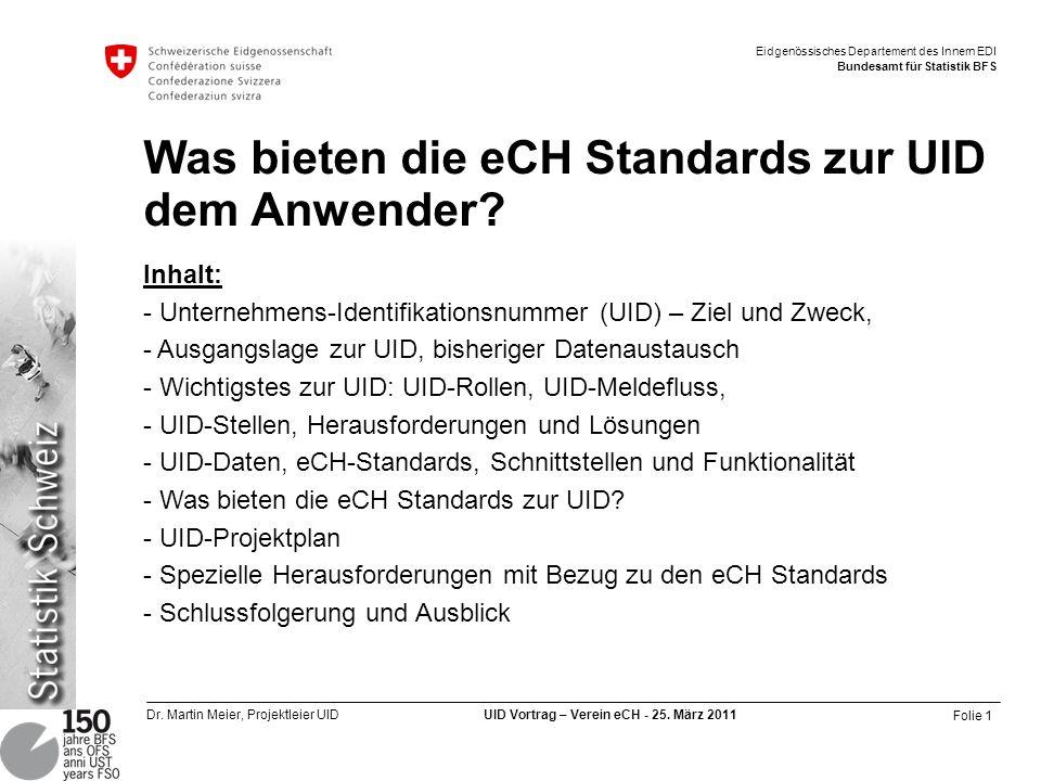 Was bieten die eCH Standards zur UID dem Anwender