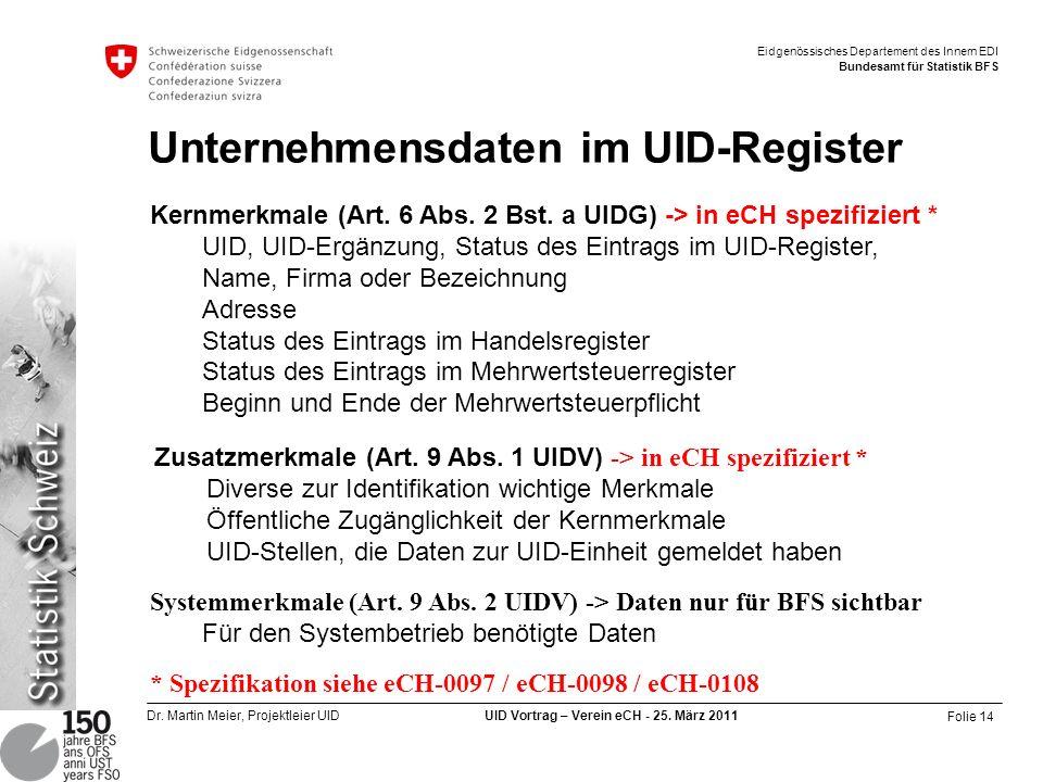 Unternehmensdaten im UID-Register