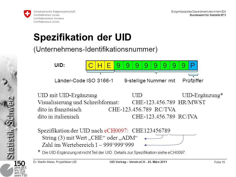 Spezifikation der UID (Unternehmens-Identifikationsnummer)