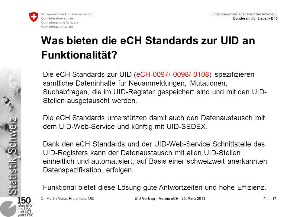 Was bieten die eCH Standards zur UID an Funktionalität