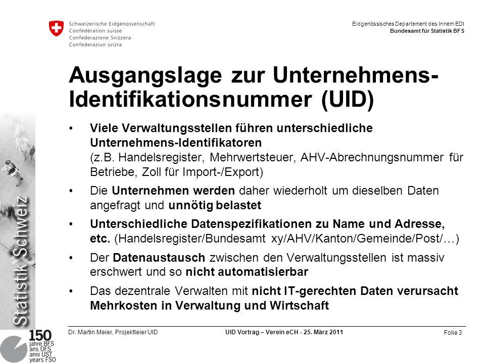Ausgangslage zur Unternehmens-Identifikationsnummer (UID)