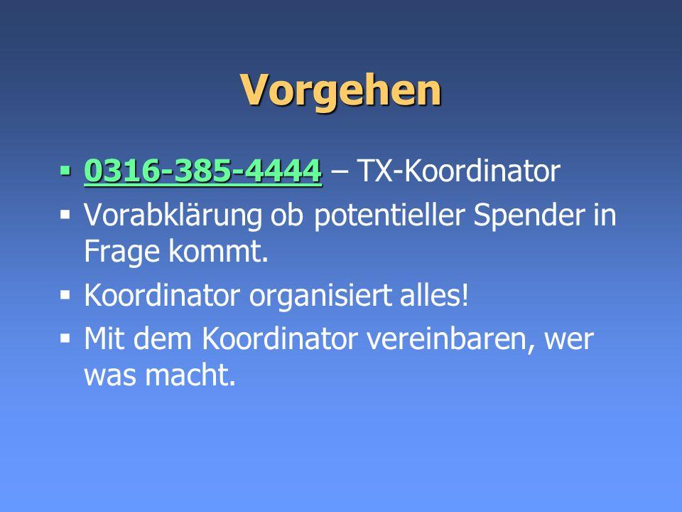 Vorgehen 0316-385-4444 – TX-Koordinator