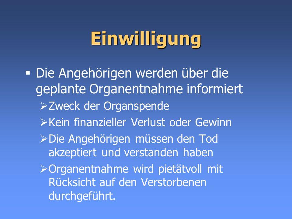 Einwilligung Die Angehörigen werden über die geplante Organentnahme informiert. Zweck der Organspende.