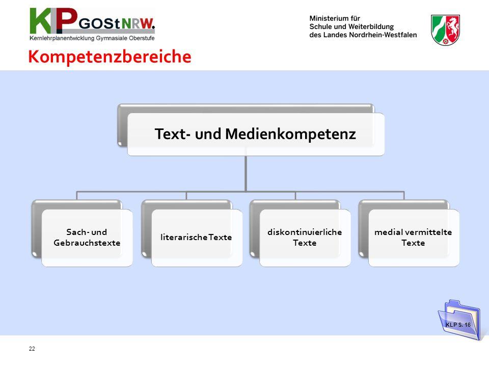 Kompetenzbereiche Text- und Medienkompetenz Sach- und Gebrauchstexte