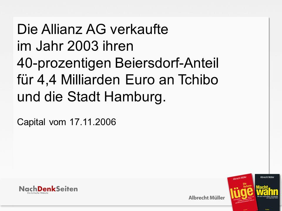 Die Allianz AG verkaufte im Jahr 2003 ihren