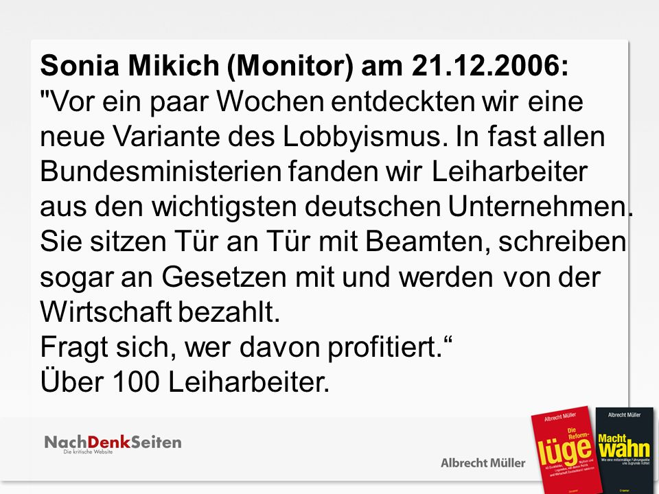Sonia Mikich (Monitor) am 21.12.2006: