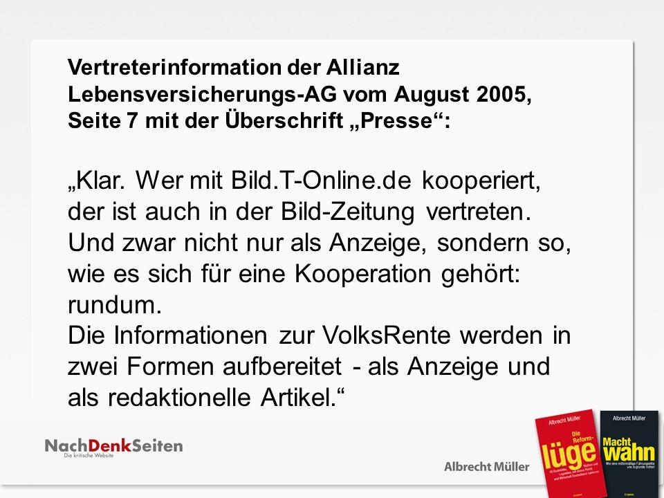 """Vertreterinformation der Allianz Lebensversicherungs-AG vom August 2005, Seite 7 mit der Überschrift """"Presse :"""