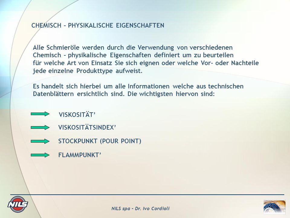 CHEMISCH – PHYSIKALISCHE EIGENSCHAFTEN