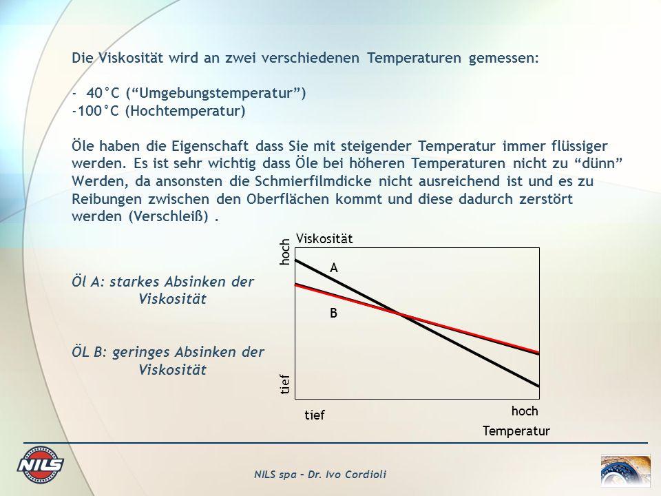 Die Viskosität wird an zwei verschiedenen Temperaturen gemessen: