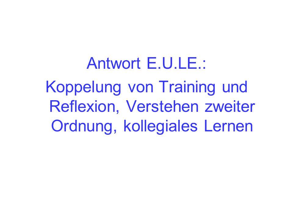 Antwort E.U.LE.: Koppelung von Training und Reflexion, Verstehen zweiter Ordnung, kollegiales Lernen.
