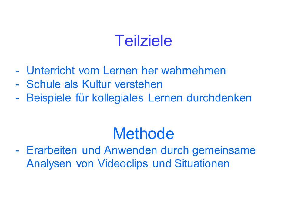 Teilziele Methode Unterricht vom Lernen her wahrnehmen
