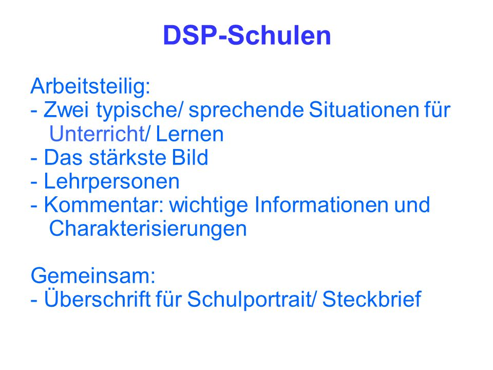 DSP-Schulen Arbeitsteilig: