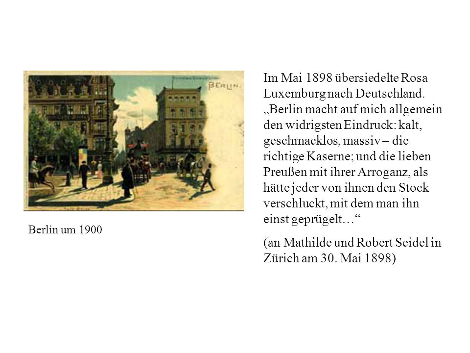 (an Mathilde und Robert Seidel in Zürich am 30. Mai 1898)