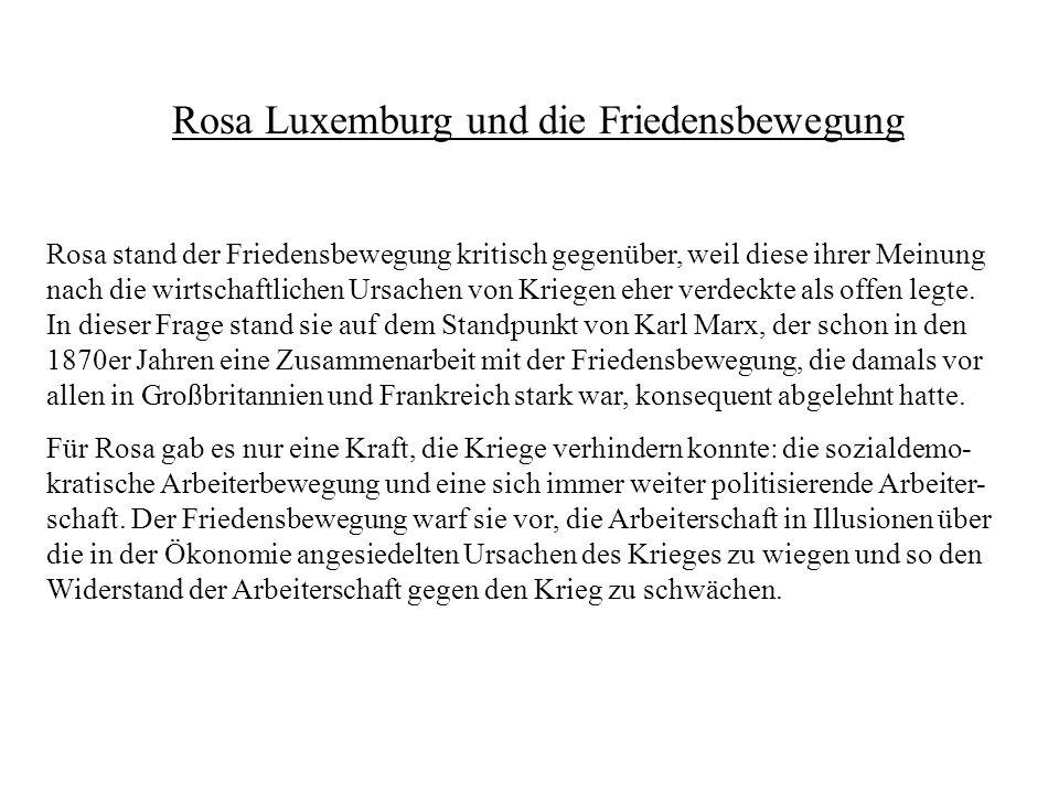 Rosa Luxemburg und die Friedensbewegung