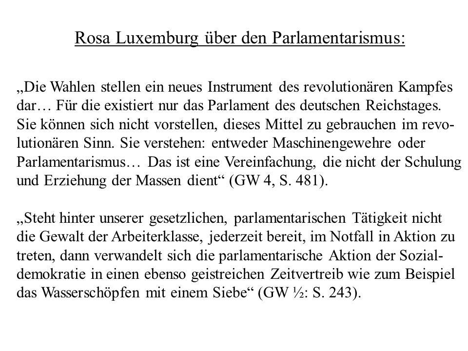 Rosa Luxemburg über den Parlamentarismus: