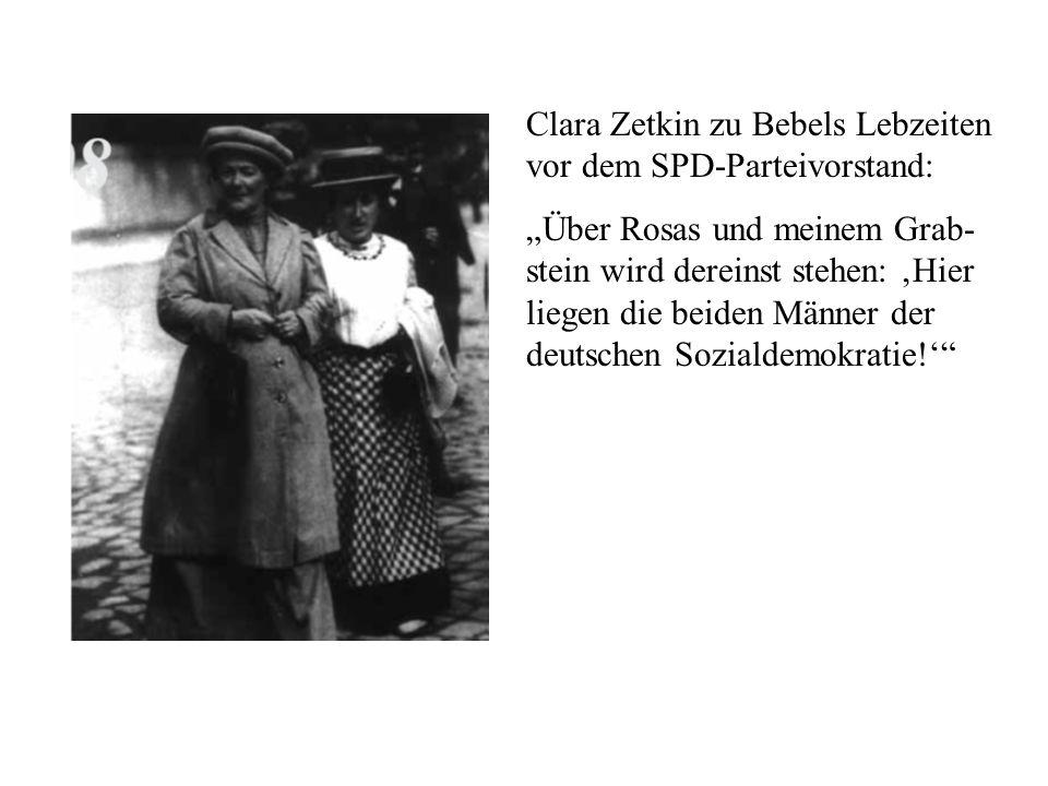 Clara Zetkin zu Bebels Lebzeiten vor dem SPD-Parteivorstand: