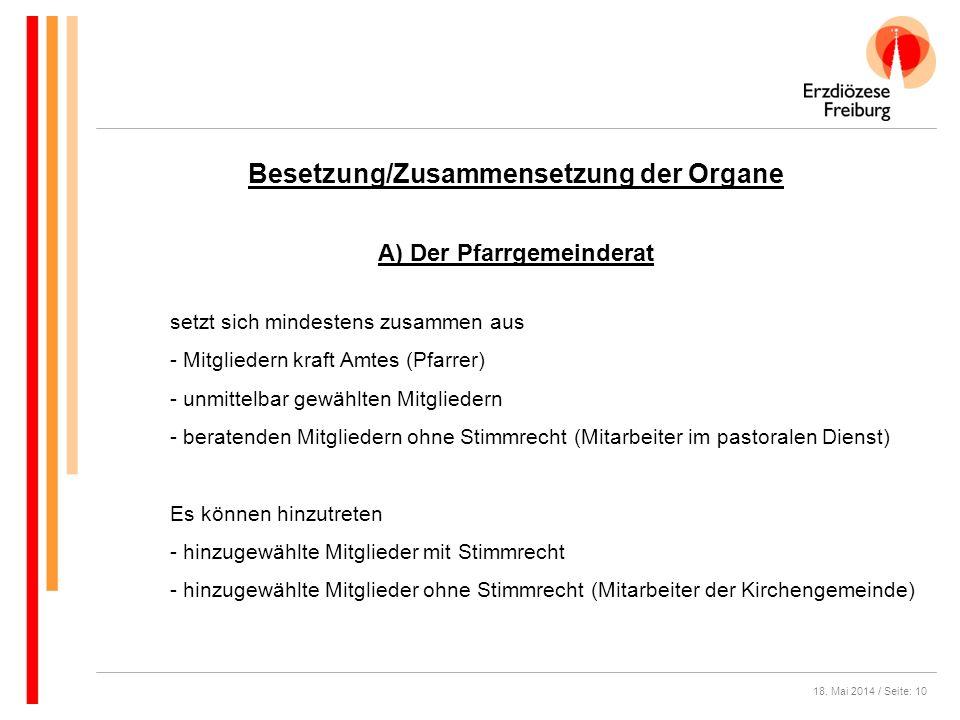 Besetzung/Zusammensetzung der Organe A) Der Pfarrgemeinderat