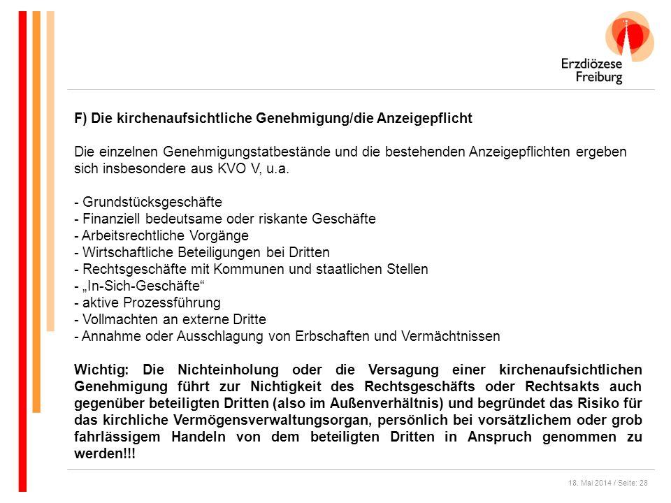 F) Die kirchenaufsichtliche Genehmigung/die Anzeigepflicht