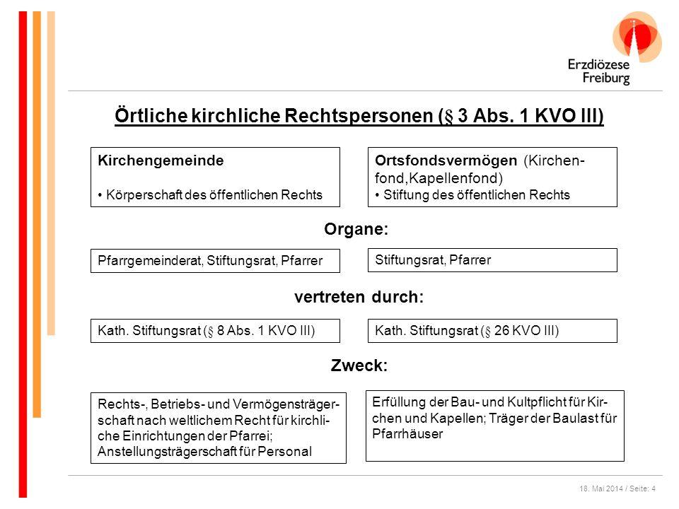 Örtliche kirchliche Rechtspersonen (§ 3 Abs. 1 KVO III)
