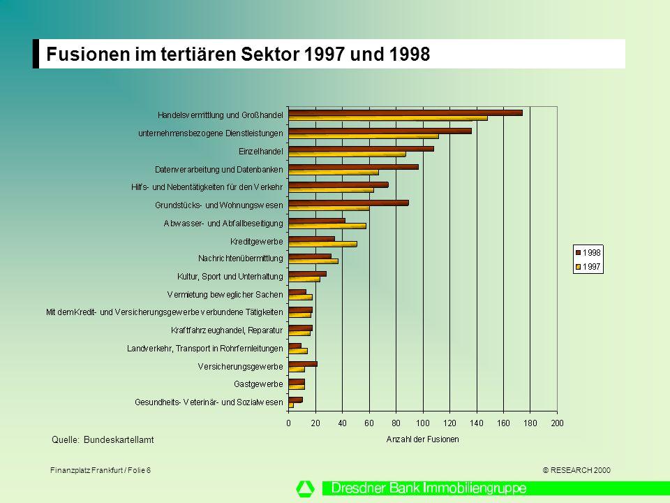 Fusionen im tertiären Sektor 1997 und 1998