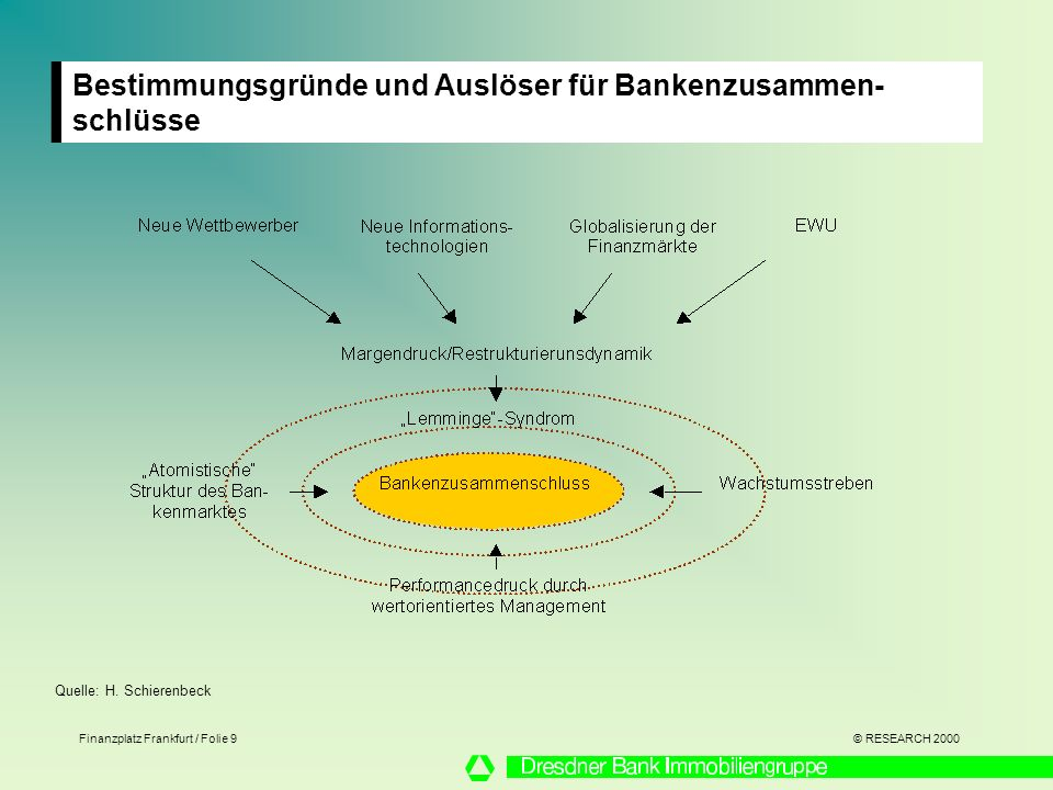 Bestimmungsgründe und Auslöser für Bankenzusammen-schlüsse