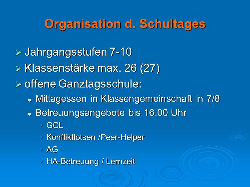 Organisation d. Schultages