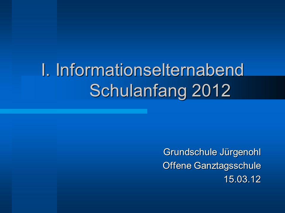 I. Informationselternabend Schulanfang 2012