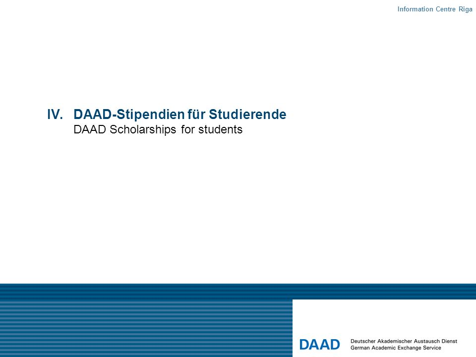 DAAD-Stipendien für Studierende DAAD Scholarships for students