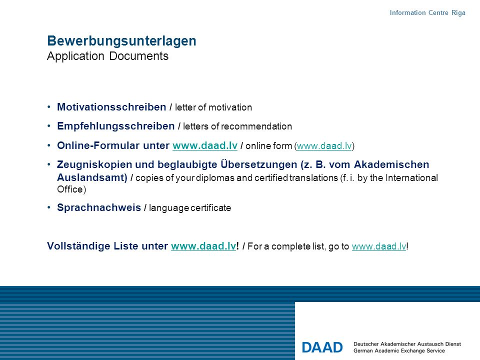 Bewerbungsunterlagen Application Documents