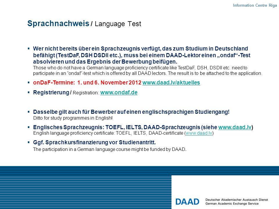 Sprachnachweis / Language Test