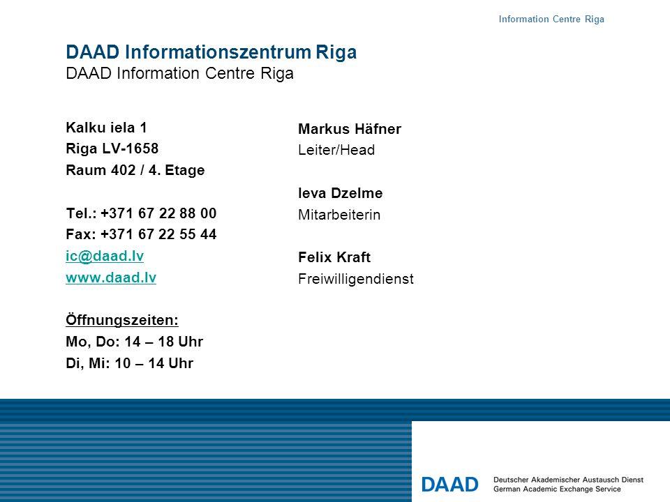 DAAD Informationszentrum Riga DAAD Information Centre Riga