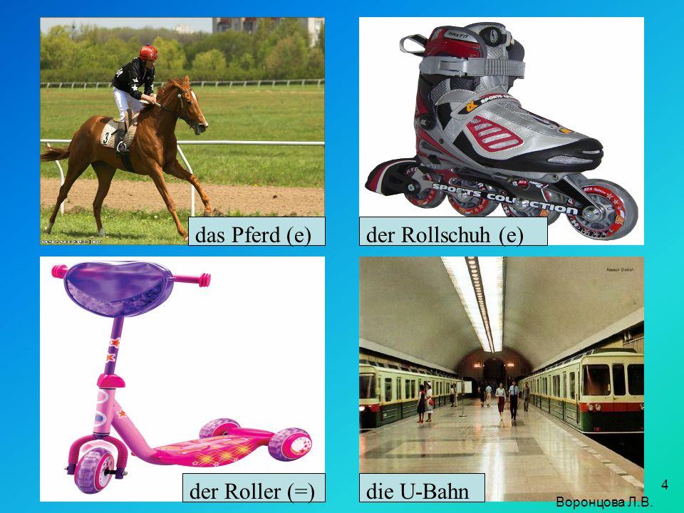 das Pferd (e) der Rollschuh (e) der Roller (=) die U-Bahn