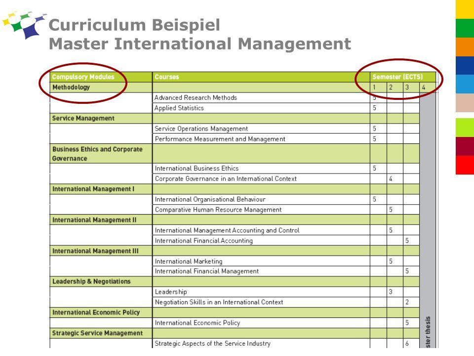 Curriculum Beispiel Master International Management