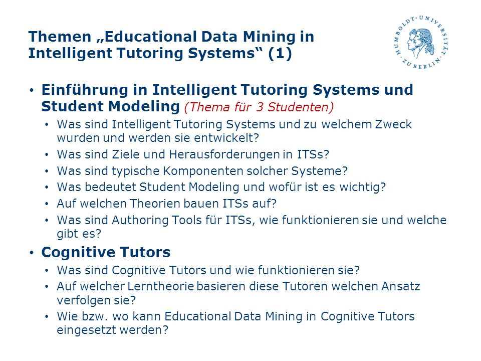 "Themen ""Educational Data Mining in Intelligent Tutoring Systems (1)"