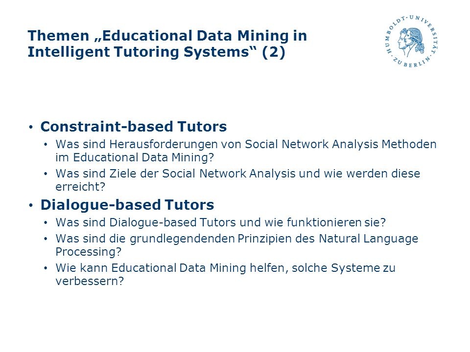 "Themen ""Educational Data Mining in Intelligent Tutoring Systems (2)"