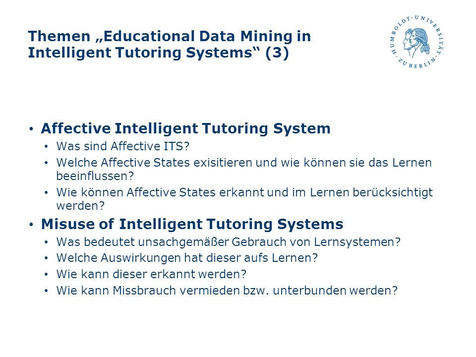 "Themen ""Educational Data Mining in Intelligent Tutoring Systems (3)"