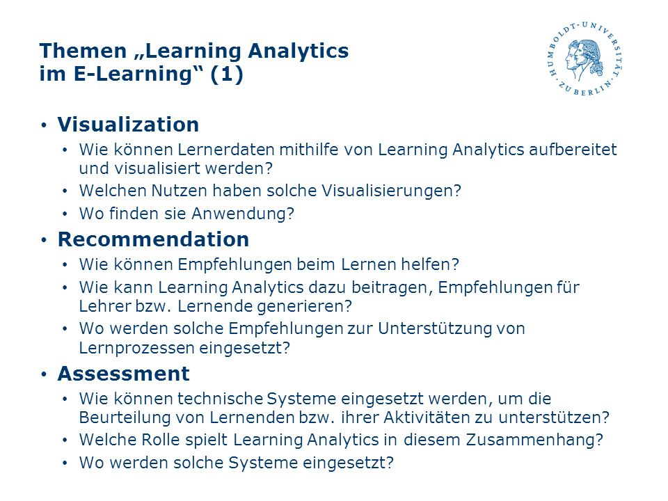 "Themen ""Learning Analytics im E-Learning (1)"